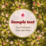 Vårblommakort med ramen för text Arkivfoto
