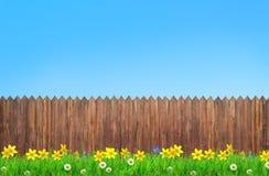 Vårblommor och träträdgårdstaket vektor illustrationer