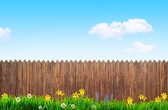 Vårblommor och träträdgårdstaket stock illustrationer