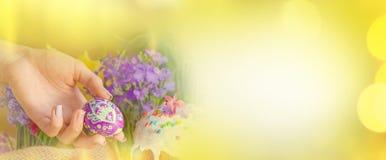 Vårblommor, påskkaka och easter ägg baner färgrika easter tomt kopieringsutrymme Fotografering för Bildbyråer
