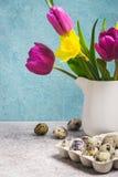 Vårbukett av tulpan och påskliljor tillgänglig hälsning för korteaster eps mapp Fotografering för Bildbyråer