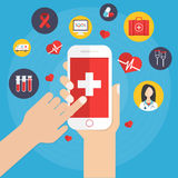Vård- applikation på smartphonebegrepp Royaltyfria Foton