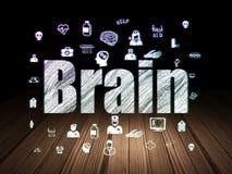 Vård- begrepp: Hjärna i mörkt rum för grunge Royaltyfria Foton