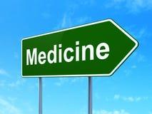 Vård- begrepp: Medicin på vägmärkebakgrund vektor illustrationer