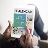 Vård- bot för arg sjukhusvård som bläddrar begrepp Royaltyfria Bilder