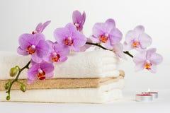 Vård- brunnsort- och blommaorkidé. Spa behandling - koppla av med stearinljus. Royaltyfria Foton