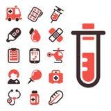 Vård- för vektorsymboler för medicinskt nödläge kapsel för kemikalie för vetenskap för laboratorium för drog för läkarbehandling  vektor illustrationer
