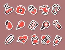 Vård- för vektorsymboler för medicinskt nödläge kapsel för kemikalie för vetenskap för laboratorium för drog för läkarbehandling  stock illustrationer