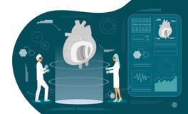 Vård- hologrambegrepp av hypotension och högt - kolesterolblodtryck vektor illustrationer