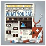 Vård- och medicinsk tidning som är lekmanna- ut med injektionssprutan, medicin, gran royaltyfri illustrationer