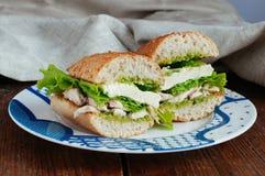 Vård- smörgås med pesto Arkivbilder
