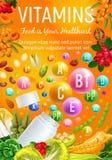Vård- vitaminer i organiska grönsaker och bär royaltyfri illustrationer