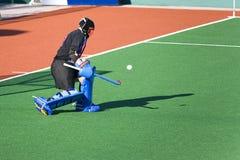 vårdare för hockey för fältmål Royaltyfria Foton
