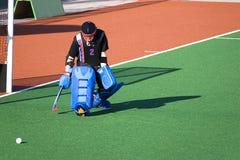 vårdare för hockey för fältmål Fotografering för Bildbyråer