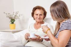 Vårdare som har en kopp te med en äldre kvinna Royaltyfri Foto