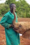 Vårdaren för den afrikanska elefanten med adoptiv- behandla som ett barn den afrikanska elefanten på David Sheldrick Wildlife Tru Royaltyfri Bild