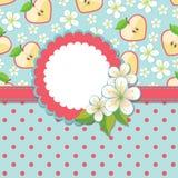 Vårdesignmall. Apple, blommor och polkan gör Arkivfoton