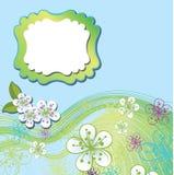 Vårdesignmall. Körsbärblommor och linje in  Stock Illustrationer