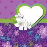 Vårdesignmall. Körsbäret blommar bakgrund a Royaltyfri Illustrationer