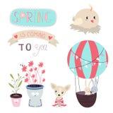 Våren är den kommande vektoruppsättningen royaltyfri illustrationer