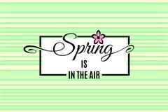 Våren är i luftbokstäver vektor Royaltyfri Illustrationer