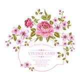 Våren blommar buketten för tappningkort. Royaltyfri Foto