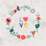 Våren blommar, sidor, maskrosen, gräs på en tappningbakgrund Royaltyfri Fotografi