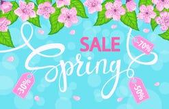 Vårförsäljningsbakgrund med med körsbärsröda blomningar blommar, nya gräsplansidor Royaltyfria Foton