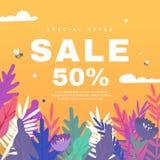 Vårförsäljningsbaner med pappers- blommor på en orange bakgrund royaltyfri illustrationer