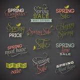 Vårförsäljningsetiketter Stock Illustrationer