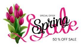 Vårförsäljningsmall Sale affisch, Sale reklamblad, Sale vektor Tvformatbaner Illustration för vektorgemkonst Royaltyfri Fotografi