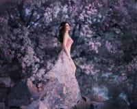 Vårfen står på bakgrunden av en blomning, rosigt träd Hon bär en rosa klänning med blommor som fladdrar arkivfoton