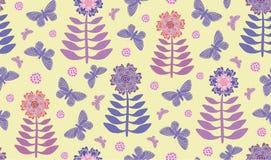 Vårhoppblommor och fjärilar royaltyfri illustrationer