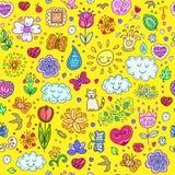 Vårklotteruppsättning Handattraktion blommar, solen, moln, fjärilar royaltyfri illustrationer