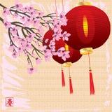 Vårkort för körsbärsröd blomning Royaltyfria Bilder