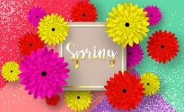 Vårkort med blommor och skuggor, för rabatter, försäljningar, befordringar Färgstänk av vit målarfärg och en guld- inskrift vektor illustrationer