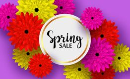 Vårkort med blommor och skuggor, för rabatter, försäljningar, befordringar royaltyfri illustrationer