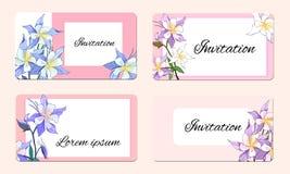 Vårkort med delikata blommor Vektorillustration av rosa och vita blommor stock illustrationer