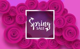 Vårkort med rosen och skuggor för blommor den purpurfärgade, för rabatter, försäljningar, befordringar Inskriften i fyrkantig ram stock illustrationer