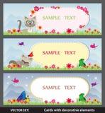Vårkort med tecknad filmkatter och fåglar Arkivfoton
