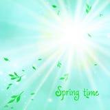 Vårkortbakgrund med solen och sidor stock illustrationer
