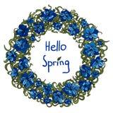 Vårkrans av blåa blommor Hälsningar fjädrar Stock Illustrationer