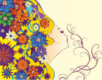 Vårkvinnafantasi med blommor Arkivfoton