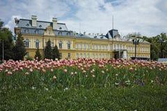 Vårlandskap av den kungliga slotten Arkivfoton