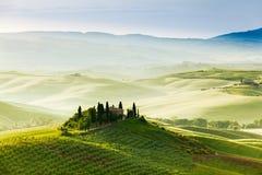 Vårlandskap av fält Tuscany Royaltyfria Bilder