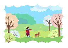 Vårlandskap med en flicka, en hund och en fjäril stock illustrationer