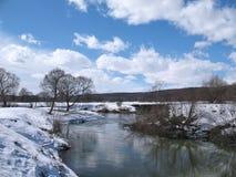 Vårlandskap med floden Royaltyfri Fotografi