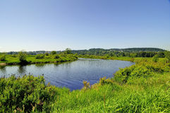 Vårlandskap med floden och ängen Royaltyfria Bilder