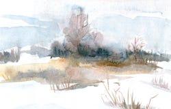 Vårlandskap med träd på fältet för flygillustration för näbb dekorativ bild dess paper stycksvalavattenfärg stock illustrationer