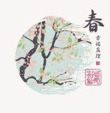 Vårlandskap med trädet och kinesiska tecken Royaltyfri Fotografi